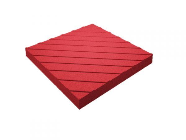Тактильная плитка с диагональными рифами 50х50х5 красная