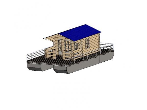 Понтон. Плавучая дача (плав-дом) на понтонах 64 кв. м