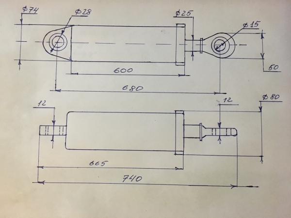Гидроцилиндр (L=600(740) мм, D (цил) =74мм, D (шток) =25мм).
