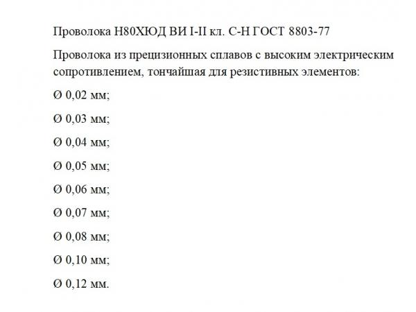 Закупка Проволоки Н80ХЮД ВИ I-II кл. С-Н ГОСТ 8803-77  _ 5 кг