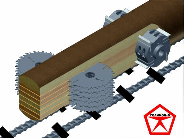 Станок фрезерно-брусующий+многопил для переработки тонкомера СПТ-280