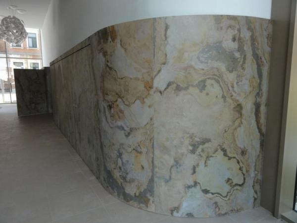 Панели с каменным шпоном. Декоративная отделка.