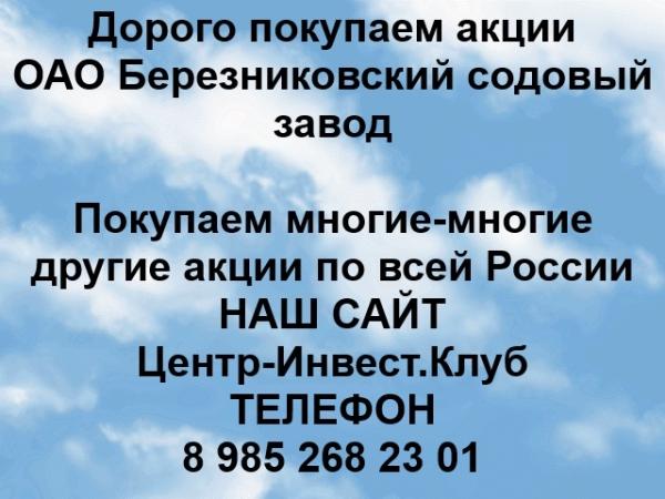 Покупаем акции ОАО Березниковский содовый завод и любые другие акции п