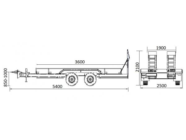 Прицеп для перевозки спецтехники до 5 тонн