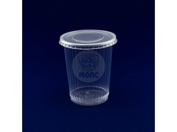Контейнер пищевой одноразовый пластиковый 0,5л без крышки Ребро Ф94,5х