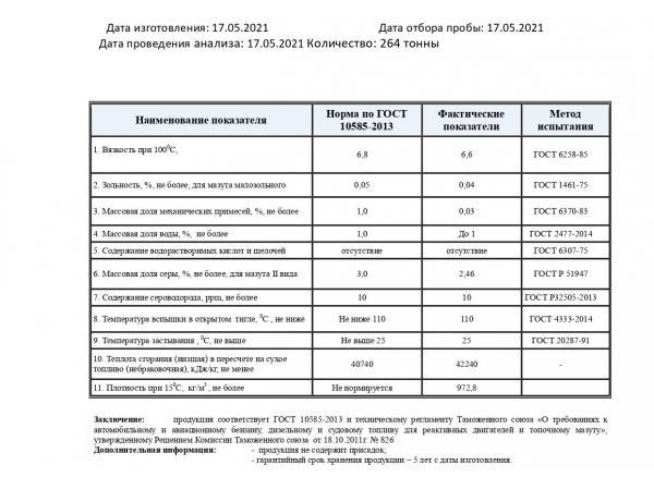 Реализуем МАЗУТ  М-100, сера 2,46  – 24 100 р/тонна